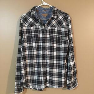 Jack's Girlfriend Flannel Shirt Black white XL